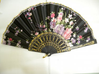 Brand New Japanese Floral Print Folding Fan - Black