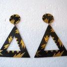 Brand New Ladies Black & Gold Floral Print Dangles Earrings Studs