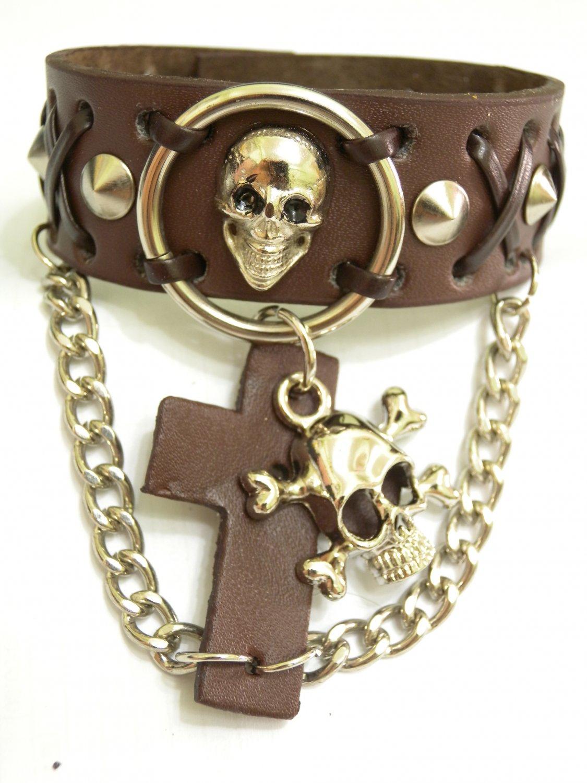 Genuine Leather Wristband/Bracelet/Bangle with Skull Charm Link Chain