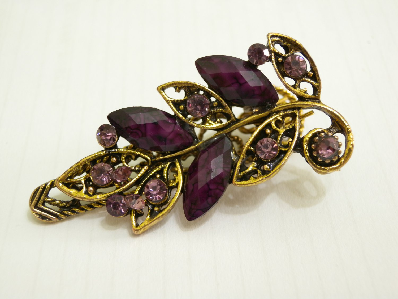 Brand New Ladies Purple Crystal & Gemstone Bronze Floral Hair Clip