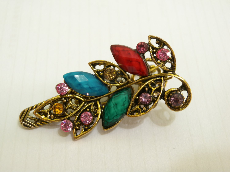 Ladies Multi-Color Crystals & Gemstone Bronze Hair Clip