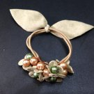 Ladies Multi-Color Velvet Floral with Faux Pearls Hair Tie Band/Ponytail Holder