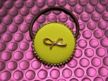 Green Color with Gold Ribbon Knot Round Shape Hair Tie Band/Ponytail Holder