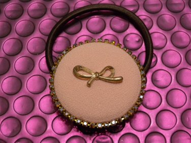 Pink round shape with Crystal Ponytail Holder/Hair Tie Band