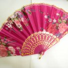 Brand New Japanese Floral Print Folding Fan - Pink