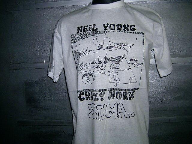 NEIL YOUNG & CRAZY HORSE zuma T SHIRT  WHITE L