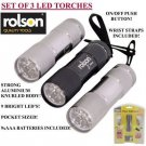 Set of 3x Rolson 9 LED Mini Pocket Torches w/Batteries