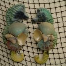 Small Seahorse Wall Hangings (Teal/yellow) (set of two)