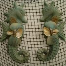 Large Seahorse Wall Hangings (Teal) (set of two)