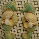 Large Seahorses wall plaque (teal/yellow) Set of two