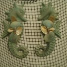 Large Seahorse Wall Plaques (subtle sea green) Set of Two