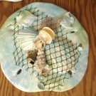 Sand Dollar Wall Plaque Teal/Green with Fish Accents
