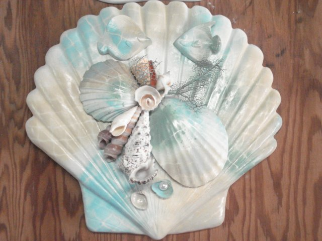 Seashell Plaque Multi color Teal/sand