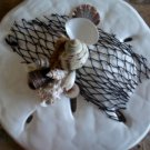 Sand Dollar Wall Plaque White Pearl w/Net