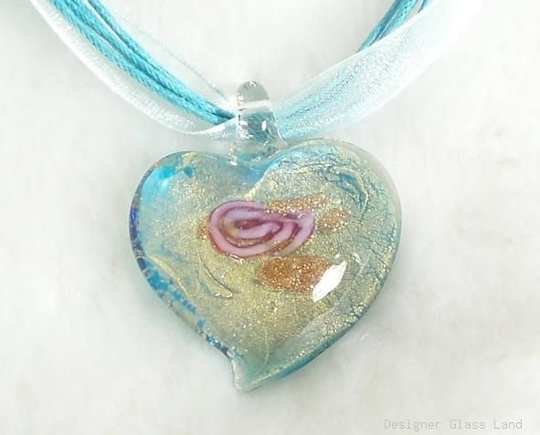 P044 MURANO GLASS PENDANT NECKLACE BLUE ROSE HEART, FREE SHIPPING!!!