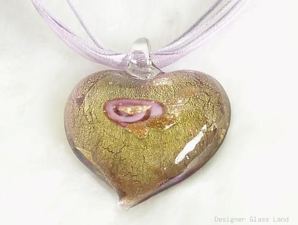 P053 MURANO GLASS PURPLE ROSE HEART PENDANT NECKLACE, FREE SHIPPING!!!