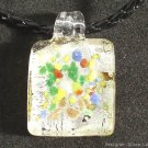 P126 MURANO GLASS SILVER GRID PENDANT NECKLACE, FREE SHIPPING!!!