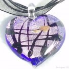 P209 MURANO GLASS HEART PENDANT NECKLACE