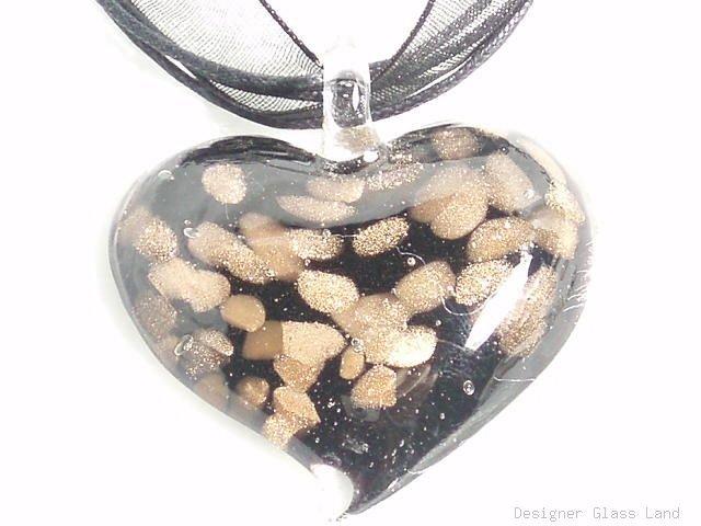 P213 MURANO GLASS BLACK HEART PENDANT NECKLACE
