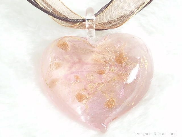 P256 MURANO GLASS SWEET PINK HEART PENDANT NECKLACE