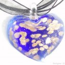 P260 MURANO GLASS NAVY HEART PENDANT NECKLACE