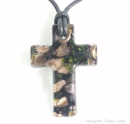 P371 MURANO BLACK CROSS PENDANT NECKLACE