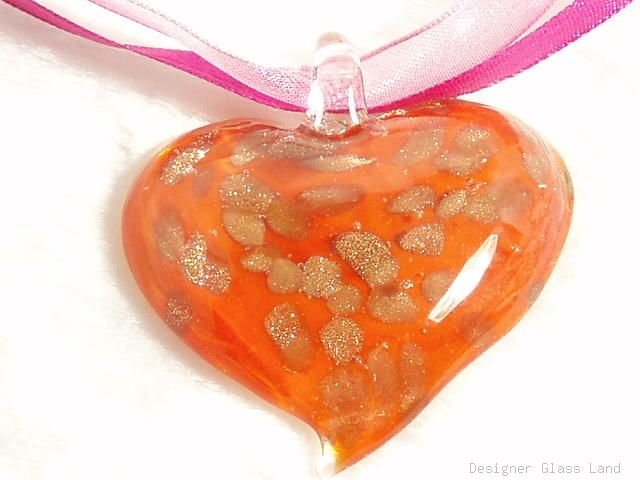 P382 MURANO LAMPWORK GLASS RED HEART PENDANT NECKLACE
