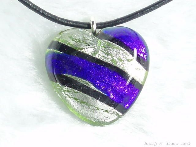 P391 MURANO LAMPWORK GLASS STRIP HEART PENDANT NECKLACE