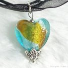 P430 MURANO GLASS BI-COLORS HAERT PENDANT NECKLACE, FREE SHIPPING!!!
