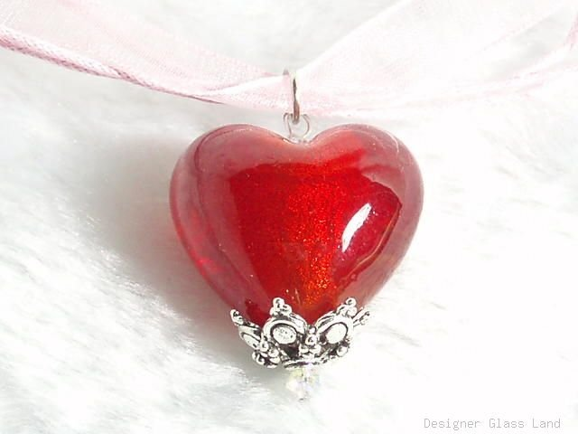 P438 MURANO LAMPWORK GLASS FIRE HEART PENDANT NECKLACE, FREE SHIPPING!!!