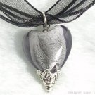P440 MURANO LAMPWORK GLASS SMOKY HEART PENDANT NECKLACE, FREE SHIPPING!!!