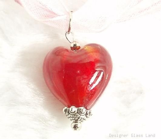 P441 MURANO LAMPWORK GLASS FIRE HEART PENDANT NECKLACE, FREE SHIPPING!!!