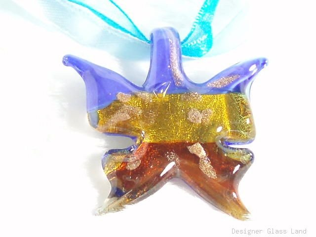 P444 MURANO LAMPWORK GLASS BUTTERFLY PENDANT NECKLACE, FREE SHIPPING!!!