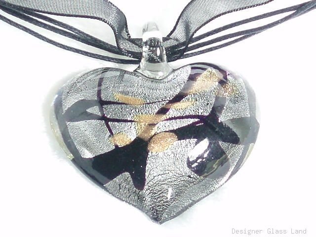 P445 MURANO LAMPWORK GLASS SMOKY HEART PENDANT NECKLACE, FREE SHIPPING!!!