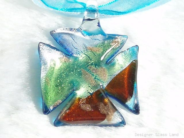 P447 MURANO LAMPWORK GLASS QUATREFOIL PENDANT NECKLACE, FREE SHIPPING!!!
