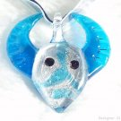 P451 MURANO LAMPWORK GLASS BUFFALO PENDANT NECKLACE, FREE SHIPPING!!!