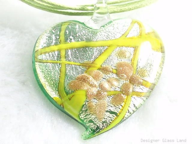 P463 MURANO LAMPWORK GLASS GREEN HEART PENDANT NECKLACE, FREE SHIPPING!!!