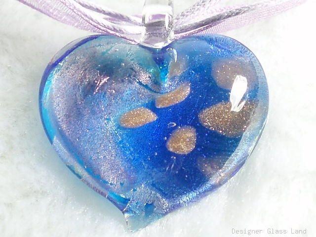 P466 MURANO GLASS BI BLUE LILAC HEART PENDANT NECKLACE, FREE SHIPPING!!!