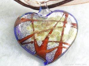 P468 MURANO LAMPWORK GLASS HEART PENDANT NECKLACE, FREE SHIPPING!!!