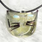 P134Y MURANO GLASS FUNKY CAT FACE PENDANT NECKLACE, FREE SHIPPING!!!