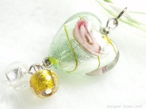 P475 MURANO LAMPWORK GLASS ROSE HEART PENDANT NECKLACE, FREE SHIPPING!!!