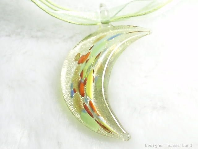 P484 MURANO LAMPWORK GLASS FANCY MOON PENDANT NECKLACE, FREE SHIPPING!!!