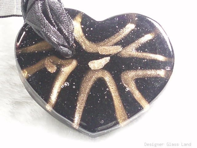 P499 MURANO LAMPWORK GLASS BLACK HERAT PENDANT NECKLACE, FREE SHIPPING!!!