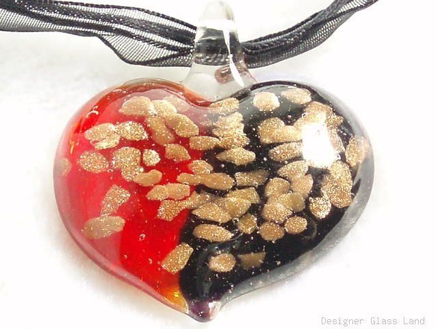 P500 MURANO LAMPWORK GLASS HERAT PENDANT NECKLACE, FREE SHIPPING!!!