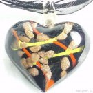 P502 MURANO LAMPWORK GLASS BLACK HEART PENDANT NECKLACE, FREE SHIPPING!!!