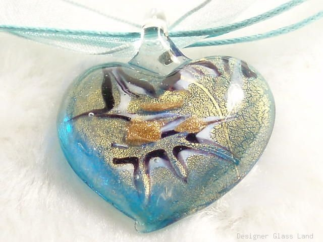 P503 MURANO LAMPWORK GLASS BLUE HEART PENDANT NECKLACE, FREE SHIPPING!!!