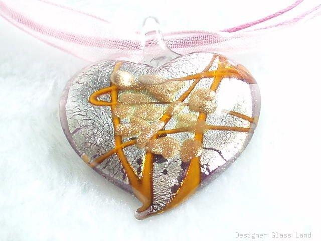 P504 MURANO LAMPWORK GLASS HEART PENDANT NECKLACE, FREE SHIPPING!!!