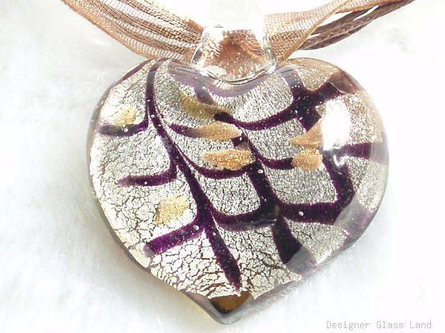 P508 MURANO LAMPWORK GLASS HEART PENDANT NECKLACE, FREE SHIPPING!!!