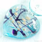 P509 MURANO LAMPWORK GLASS BLUE HEART PENDANT NECKLACE, FREE SHIPPING!!!