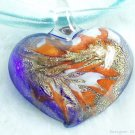 P510 MURANO LAMPWORK GLASS BLUE PENDANT NECKLACE, FREE SHIPPING!!!